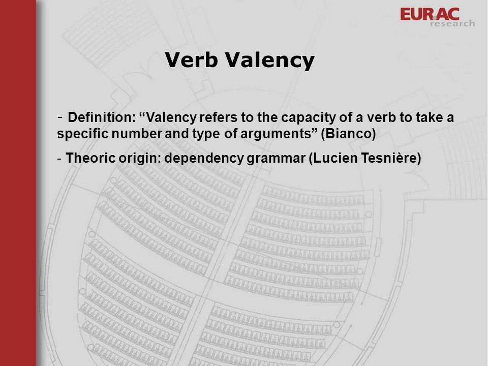 - Definition: Valency refers to the capacity of a verb to take a specific number and type of arguments (Bianco) - Theoric origin: dependency grammar (