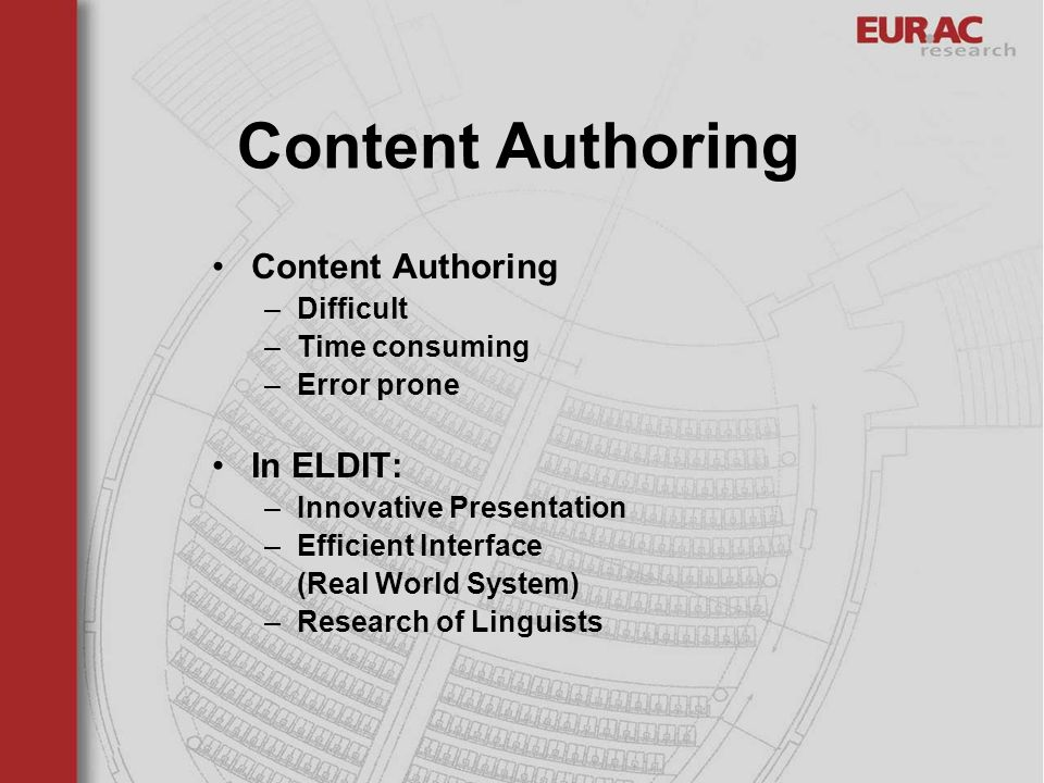 Content Authoring –Difficult –Time consuming –Error prone In ELDIT: –Innovative Presentation –Efficient Interface (Real World System) –Research of Lin