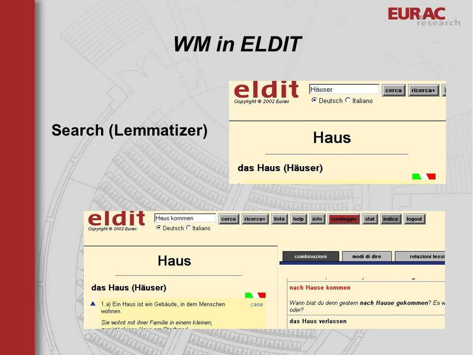 WM in ELDIT Search (Lemmatizer)