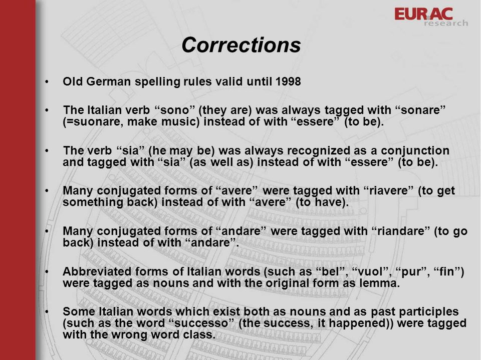 Corrections Old German spelling rules valid until 1998 The Italian verb sono (they are) was always tagged with sonare (=suonare, make music) instead o