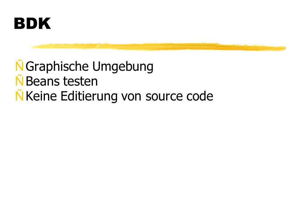BDK ÑGraphische Umgebung ÑBeans testen ÑKeine Editierung von source code