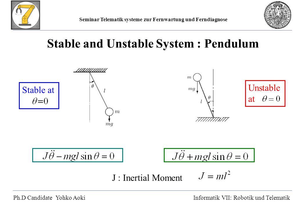 Seminar Telematik systeme zur Fernwartung und Ferndiagnose Ph.D Candidate Yohko AokiInformatik VII: Robotik und Telematik Stable and Unstable System : Pendulum J : Inertial Moment Stable atUnstable at