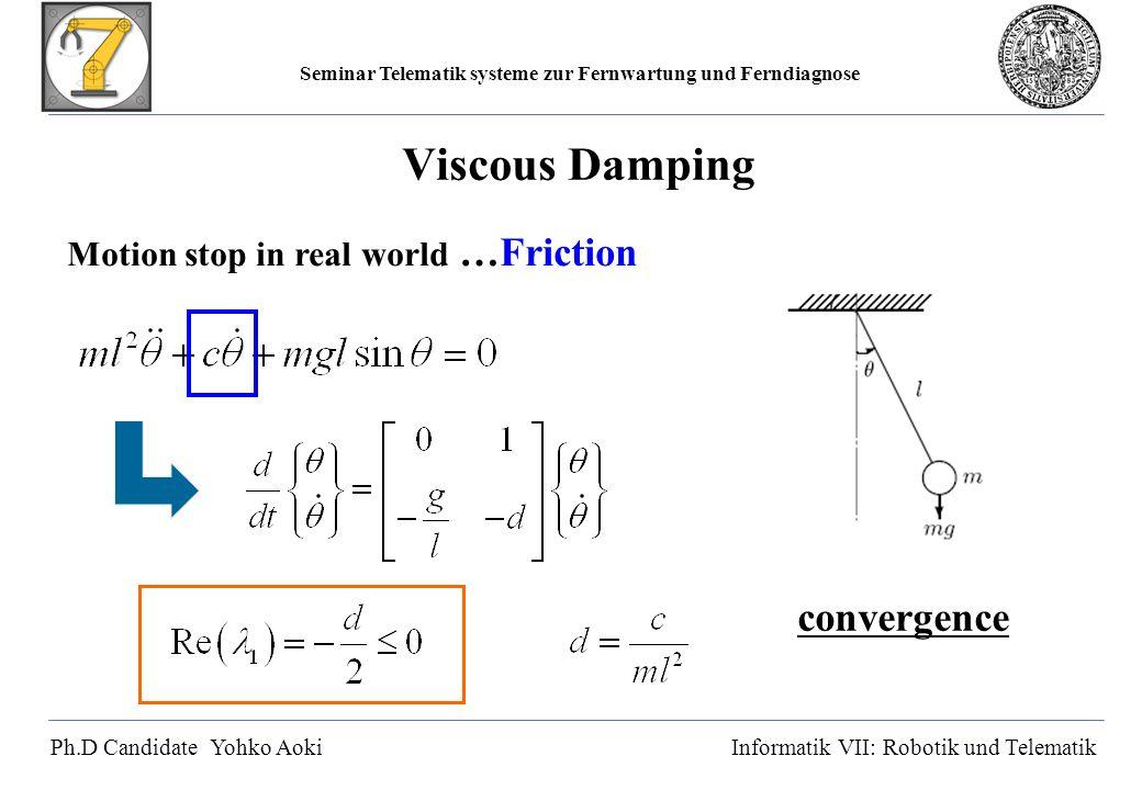 Seminar Telematik systeme zur Fernwartung und Ferndiagnose Ph.D Candidate Yohko AokiInformatik VII: Robotik und Telematik Viscous Damping Motion stop in real world …Friction convergence