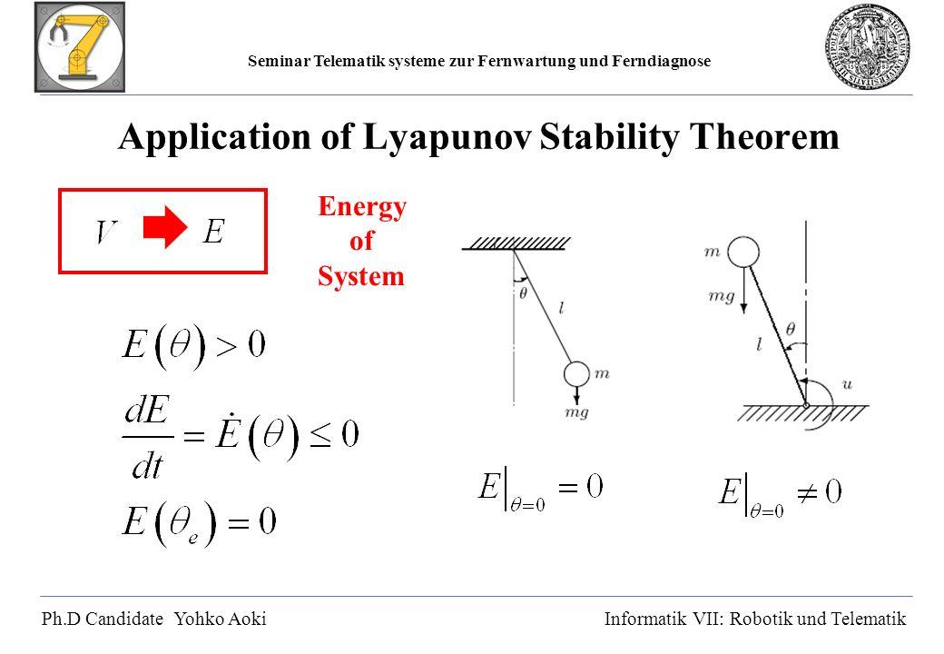 Seminar Telematik systeme zur Fernwartung und Ferndiagnose Ph.D Candidate Yohko AokiInformatik VII: Robotik und Telematik Application of Lyapunov Stability Theorem Energy of System