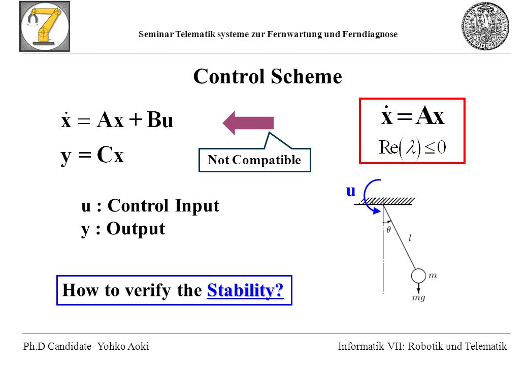 Seminar Telematik systeme zur Fernwartung und Ferndiagnose Ph.D Candidate Yohko AokiInformatik VII: Robotik und Telematik Control Scheme u : Control Input y : Output Stability.