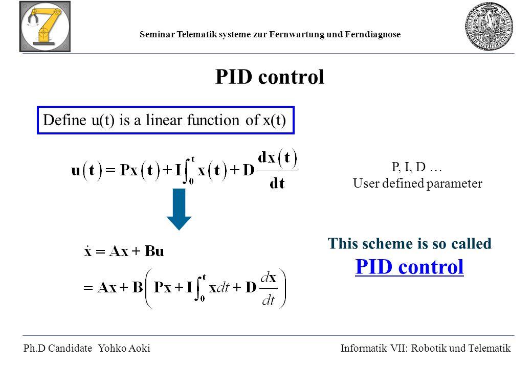 Seminar Telematik systeme zur Fernwartung und Ferndiagnose Ph.D Candidate Yohko AokiInformatik VII: Robotik und Telematik PID control Define u(t) is a linear function of x(t) P, I, D … User defined parameter This scheme is so called PID control