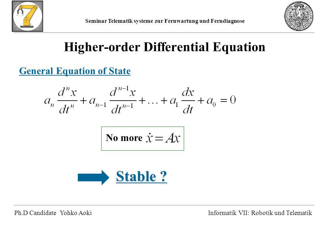 Seminar Telematik systeme zur Fernwartung und Ferndiagnose Ph.D Candidate Yohko AokiInformatik VII: Robotik und Telematik Higher-order Differential Equation General Equation of State No more Stable