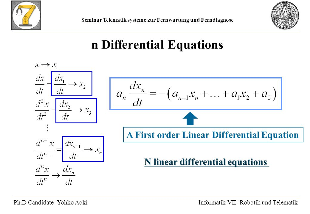 Seminar Telematik systeme zur Fernwartung und Ferndiagnose Ph.D Candidate Yohko AokiInformatik VII: Robotik und Telematik Criteria of Stability λ: Eigen value Scalar Matrix New Criteria