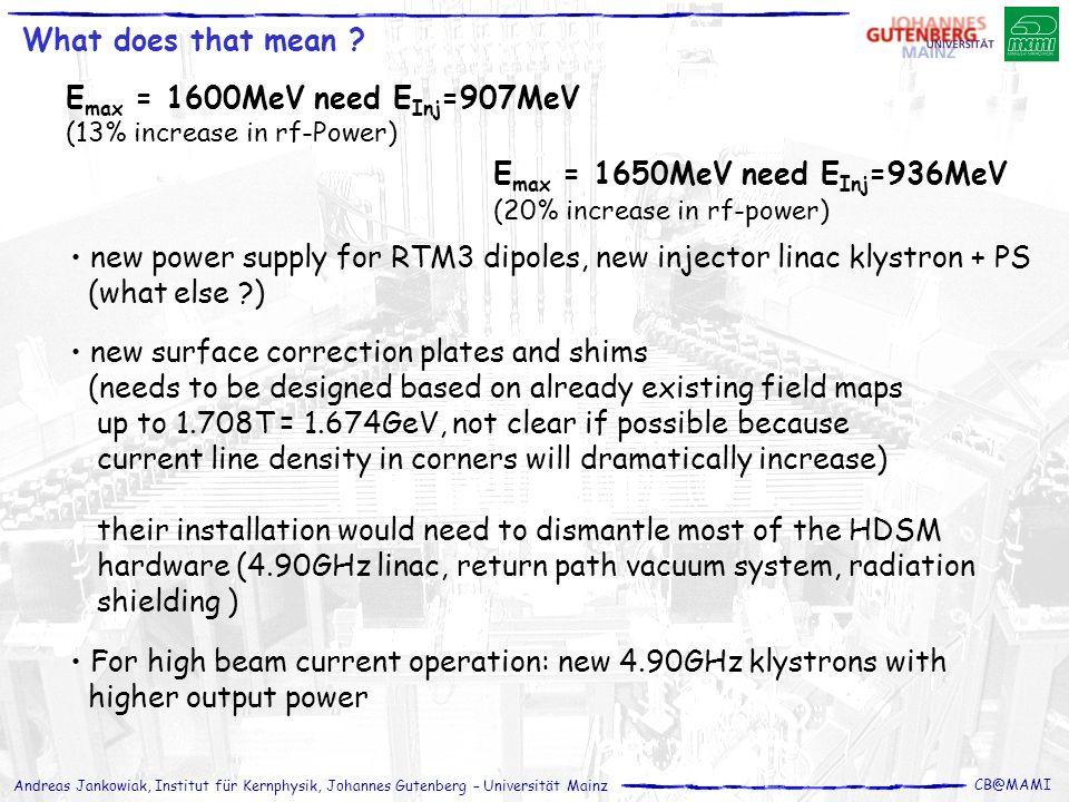 Andreas Jankowiak, Institut für Kernphysik, Johannes Gutenberg – Universität Mainz CB@MAMI What does that mean ? new power supply for RTM3 dipoles, ne
