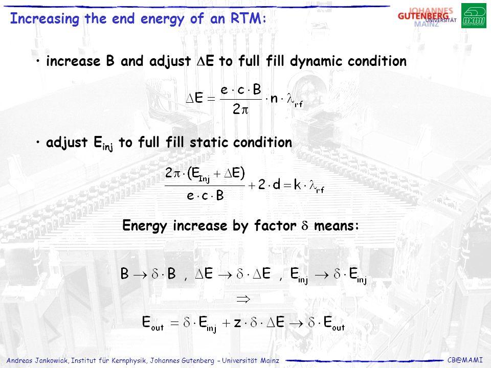 Andreas Jankowiak, Institut für Kernphysik, Johannes Gutenberg – Universität Mainz CB@MAMI increase B and adjust E to full fill dynamic condition adju