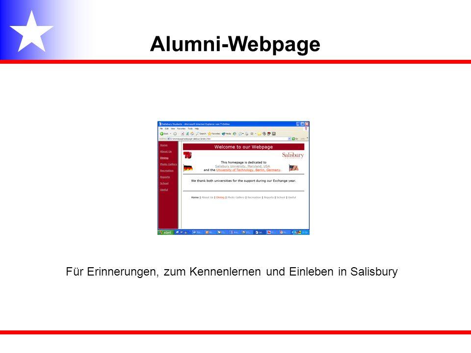 Alumni-Webpage Für Erinnerungen, zum Kennenlernen und Einleben in Salisbury
