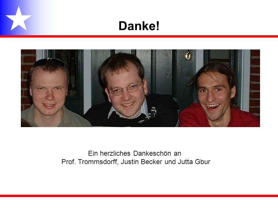 Danke! Ein herzliches Dankeschön an Prof. Trommsdorff, Justin Becker und Jutta Gbur