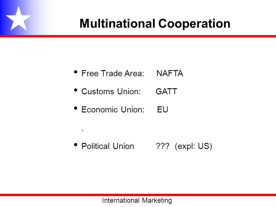 Multinational Cooperation Free Trade Area: NAFTA Customs Union: GATT Economic Union: EU. Political Union ??? (expl: US) International Marketing