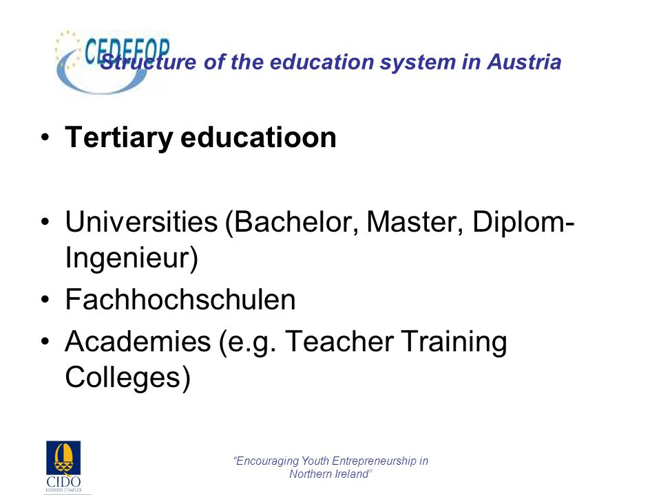 Encouraging Youth Entrepreneurship in Northern Ireland Structure of the education system in Austria Tertiary educatioon Universities (Bachelor, Master, Diplom- Ingenieur) Fachhochschulen Academies (e.g.