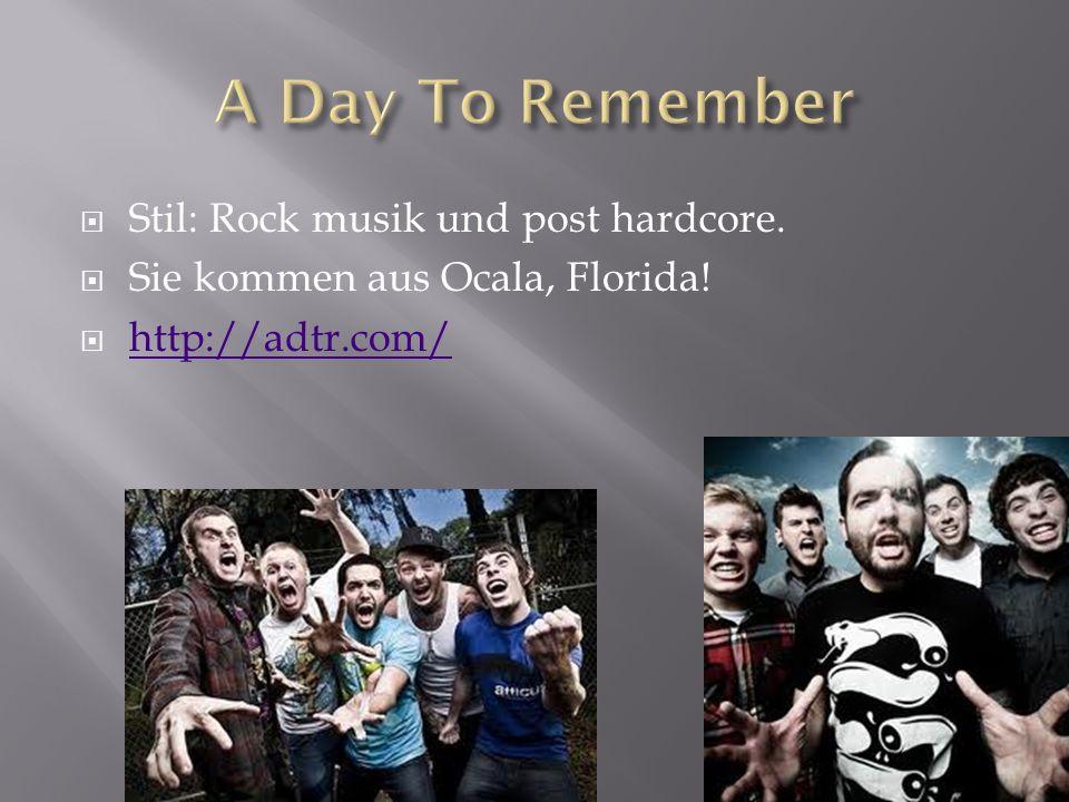 Stil: Rock musik und post hardcore. Sie kommen aus Ocala, Florida! http://adtr.com/
