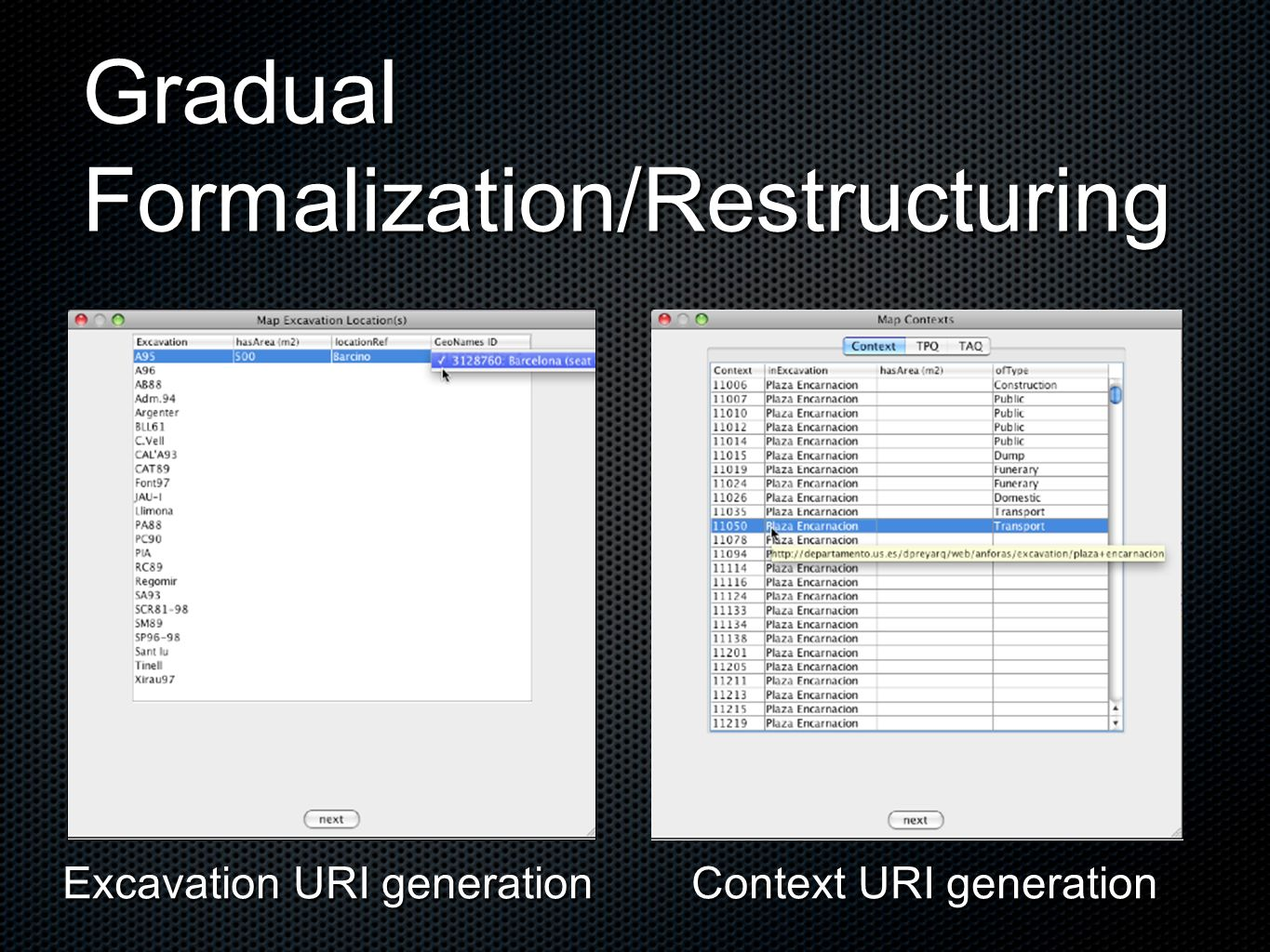 Gradual Formalization/Restructuring Context URI generation Excavation URI generation