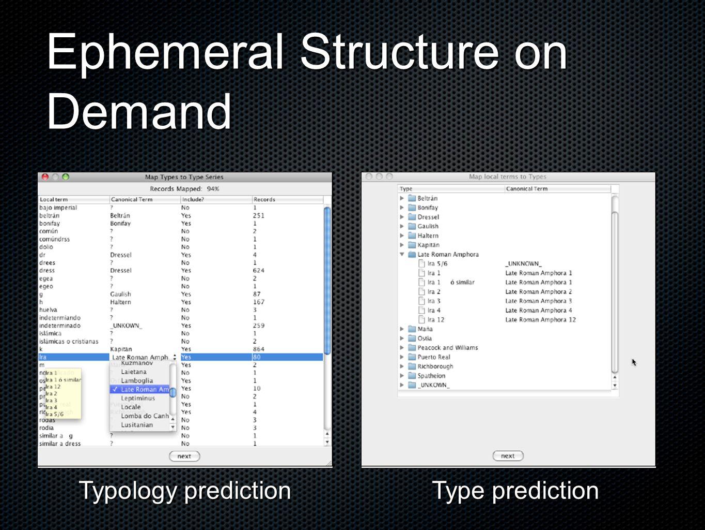 Ephemeral Structure on Demand Typology prediction Type prediction