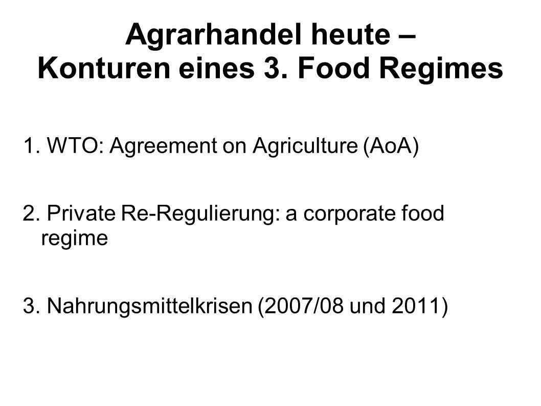 Agrarhandel heute – Konturen eines 3. Food Regimes 1. WTO: Agreement on Agriculture (AoA) 2. Private Re-Regulierung: a corporate food regime 3. Nahrun