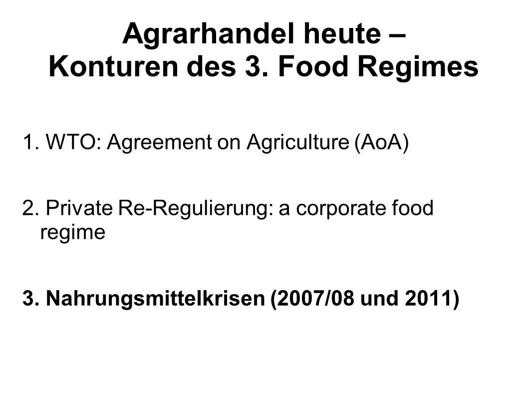 Agrarhandel heute – Konturen des 3. Food Regimes 1. WTO: Agreement on Agriculture (AoA) 2. Private Re-Regulierung: a corporate food regime 3. Nahrungs