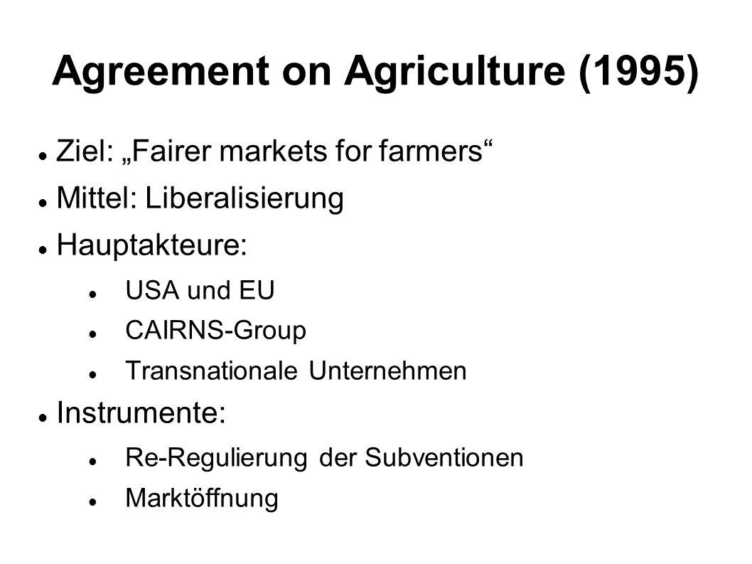 Agreement on Agriculture (1995) Ziel: Fairer markets for farmers Mittel: Liberalisierung Hauptakteure: USA und EU CAIRNS-Group Transnationale Unterneh