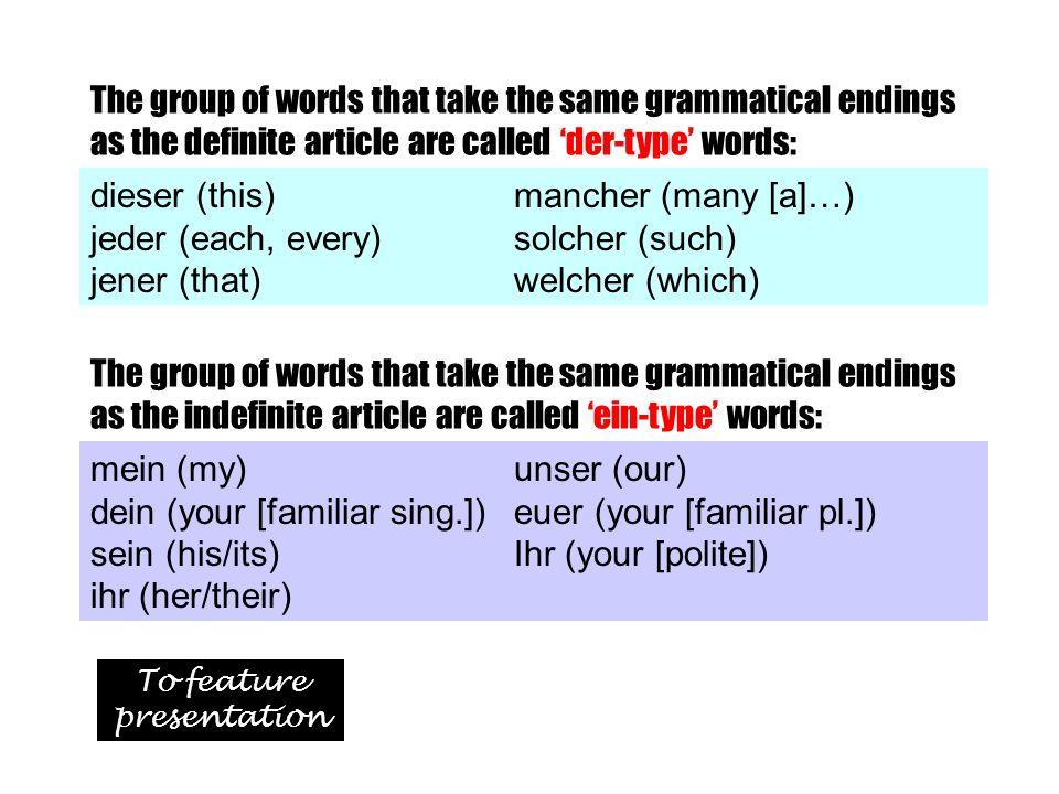 The group of words that take the same grammatical endings as the definite article are called der-type words: dieser (this) mancher (many [a]…) jeder (