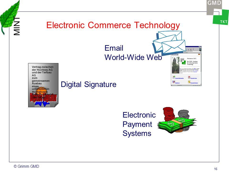 © Grimm GMD 15 Electronic Commerce Technology Vertrag zwischen der Hochbau AG und der Tiefbau AG zum gemeinsamen Ausbau eines unterkellerten Hochahuses in der Frankfurter Innenstadt Email World-Wide Web Digital Signature