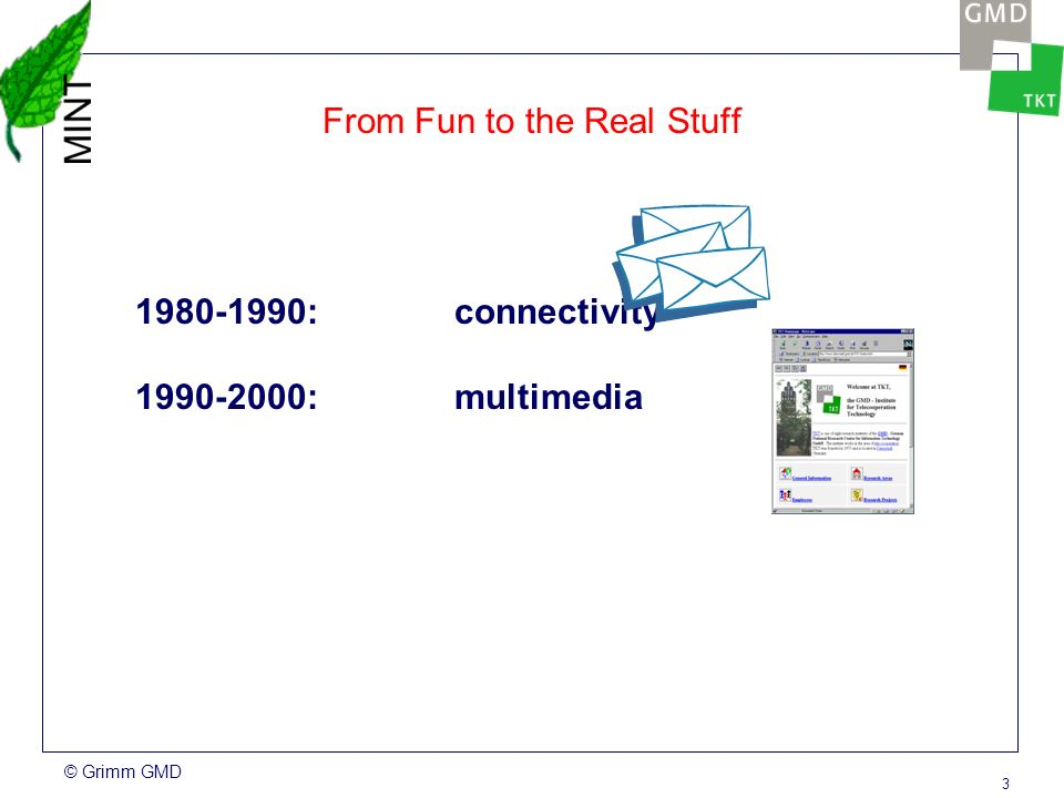 © Grimm GMD 3 From Fun to the Real Stuff 1980-1990: connectivity 1990-2000: multimedia