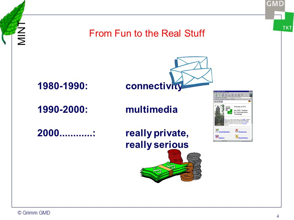 © Grimm GMD 4 From Fun to the Real Stuff 1980-1990: connectivity 1990-2000: multimedia 2000............:really private, really serious
