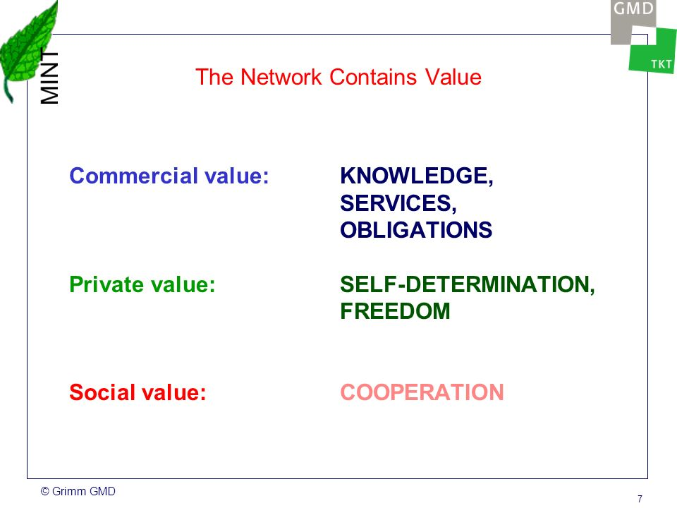 © Grimm GMD 7 The Network Contains Value Commercial value: KNOWLEDGE, SERVICES, OBLIGATIONS Private value:SELF-DETERMINATION, FREEDOM Social value:COOPERATION