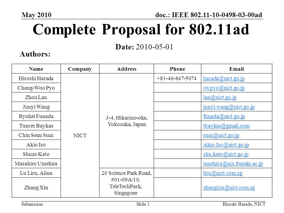 doc.: IEEE 802.11-10-0498-03-00ad Submission Timing Related Values for SC PHY May 2010 Hiroshi Harada, NICTSlide 12