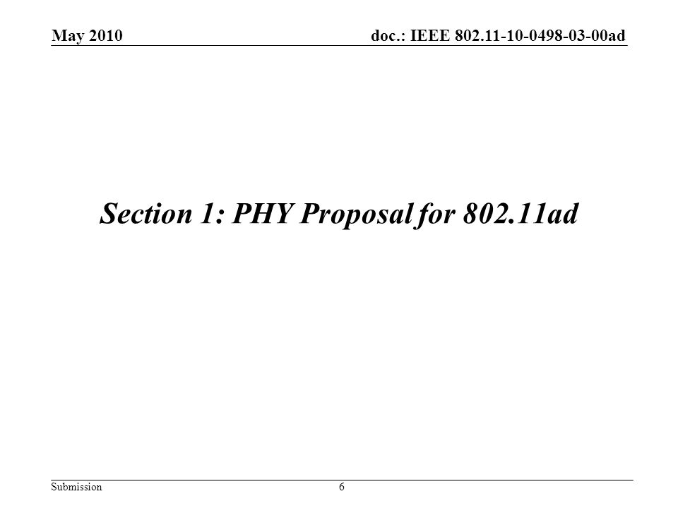 doc.: IEEE 802.11-10-0498-03-00ad Submission Strawpoll Do you support adopting the whole or part of the complete proposal in 10/0498r0 as the material to create the first draft of the TGad amendment.