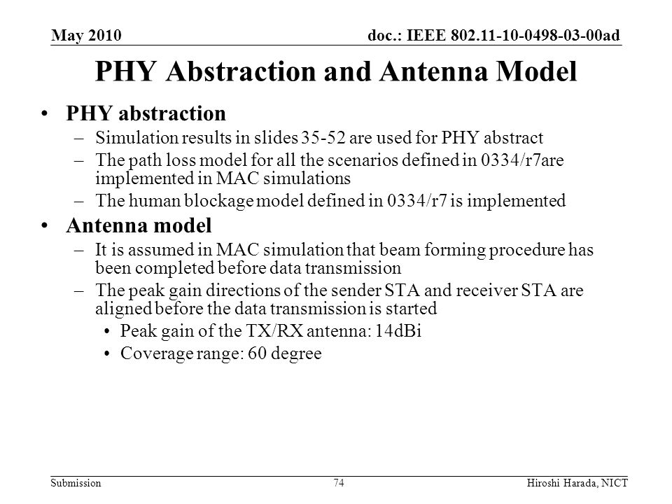 doc.: IEEE 802.11-10-0498-03-00ad Submission PHY Abstraction and Antenna Model PHY abstraction –Simulation results in slides 35-52 are used for PHY ab