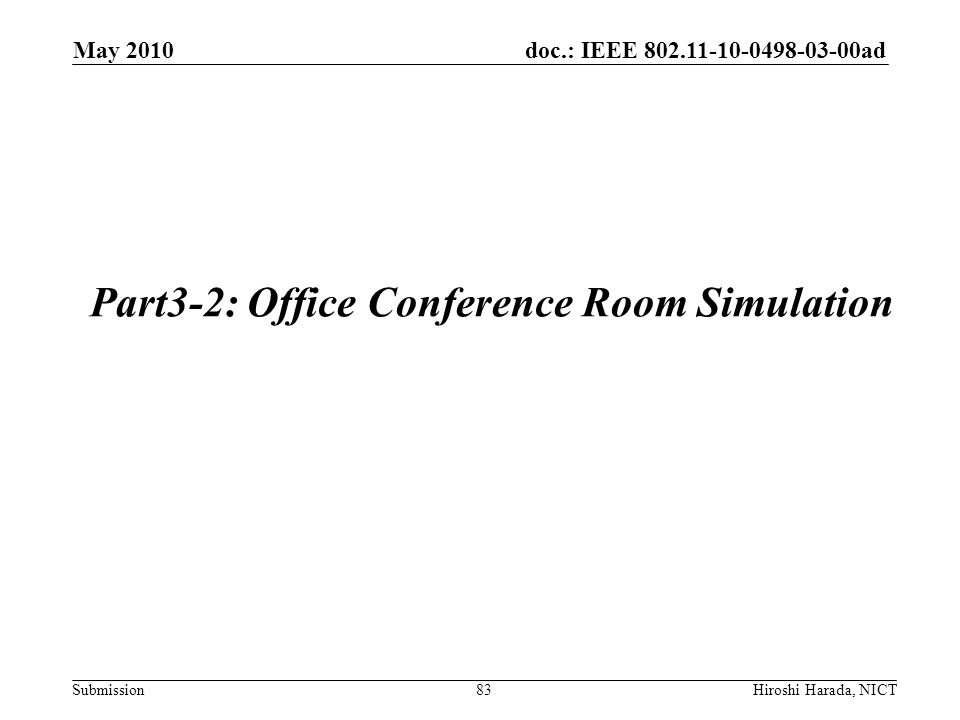 doc.: IEEE 802.11-10-0498-03-00ad Submission Part3-2: Office Conference Room Simulation 83 May 2010 Hiroshi Harada, NICT