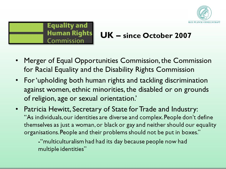 Merger of Equal Opportunities Commission, the Commission for Racial Equality and the Disability Rights Commission For upholding both human rights and