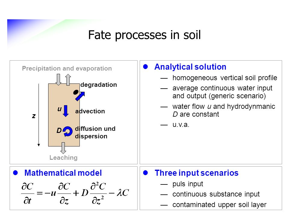 Fate processes in soil Three input scenarios puls input continuous substance input contaminated upper soil layer Analytical solution homogeneous verti