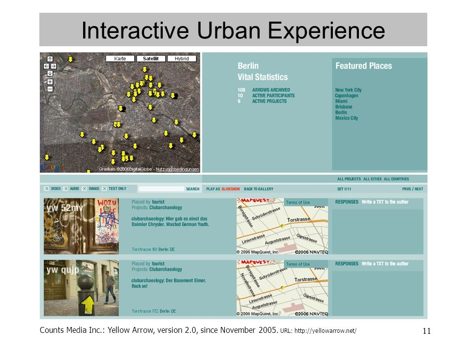 11 Interactive Urban Experience Counts Media Inc.: Yellow Arrow, version 2.0, since November 2005.