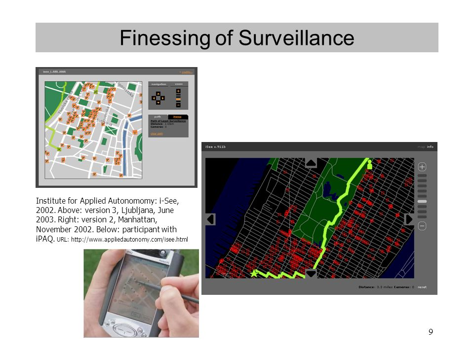 9 Finessing of Surveillance Institute for Applied Autonomomy: i-See, 2002.