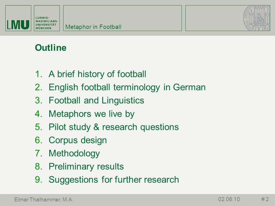 Metaphor in Football Outline A brief history of football English football terminology in German Football and Linguistics Metaphors we live by Pilot st