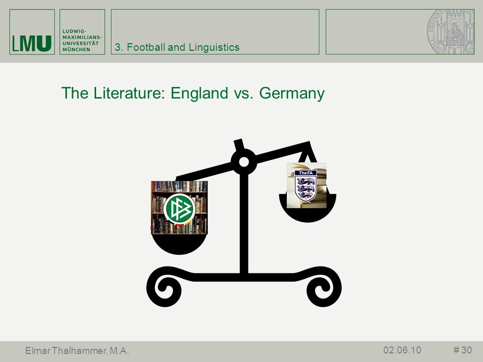 3. Football and Linguistics The Literature: England vs. Germany # 3002.06.10 Elmar Thalhammer, M.A.