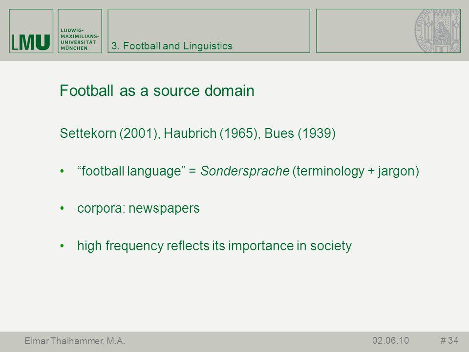 3. Football and Linguistics Football as a source domain Settekorn (2001), Haubrich (1965), Bues (1939) football language = Sondersprache (terminology