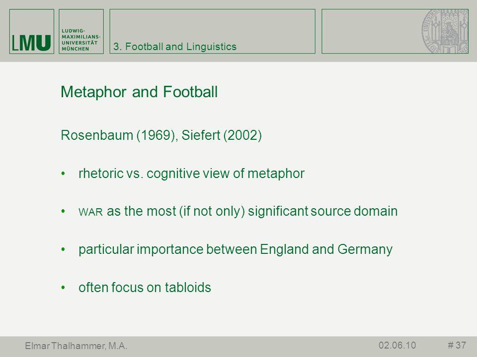 3. Football and Linguistics Metaphor and Football Rosenbaum (1969), Siefert (2002) rhetoric vs. cognitive view of metaphor WAR as the most (if not onl