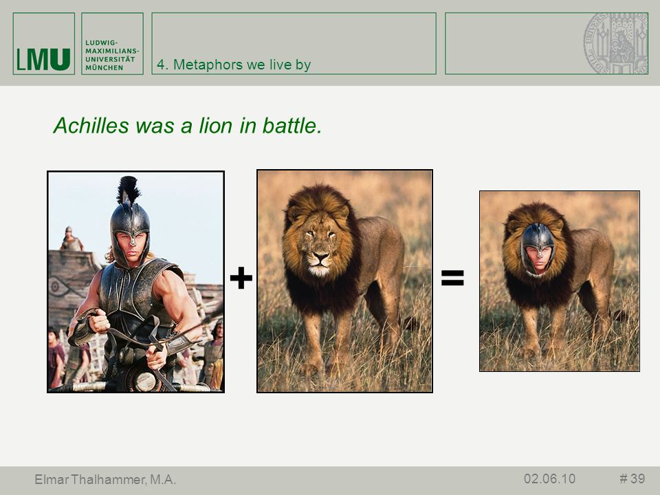 4.Metaphors we live by Is Achilles really a lion.