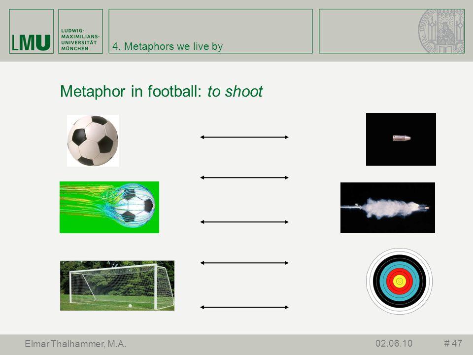 4. Metaphors we live by Metaphor in football: to shoot # 4702.06.10 Elmar Thalhammer, M.A.