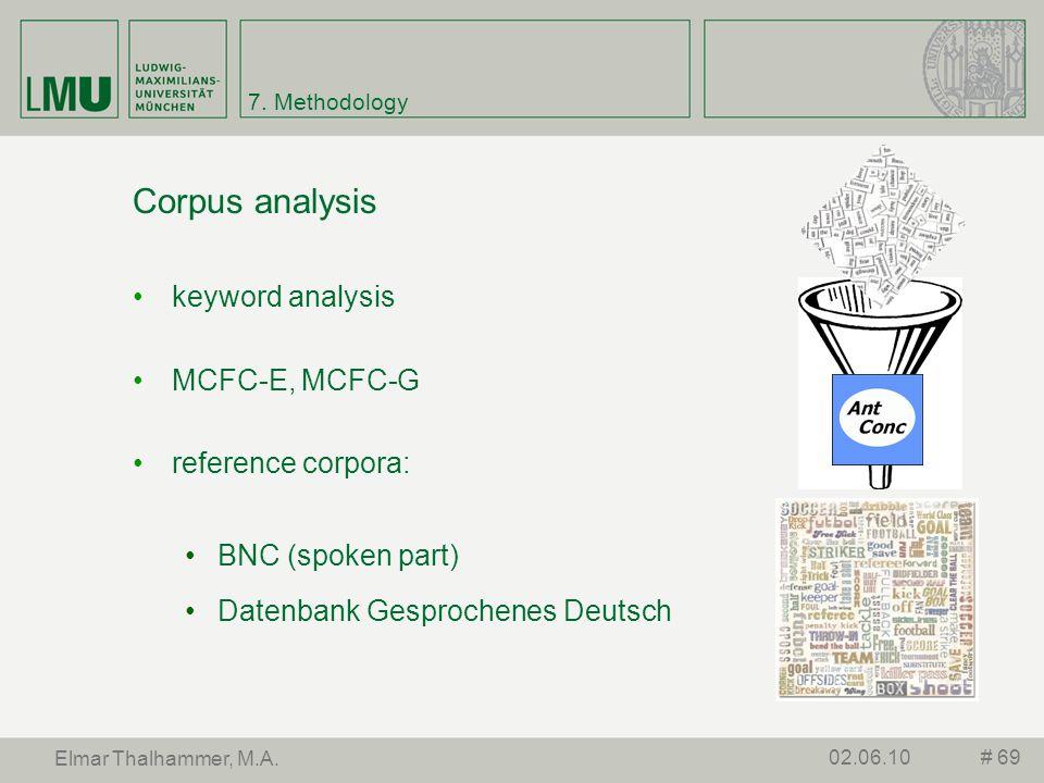 7. Methodology Corpus analysis keyword analysis MCFC-E, MCFC-G reference corpora: BNC (spoken part) Datenbank Gesprochenes Deutsch # 6902.06.10 Elmar