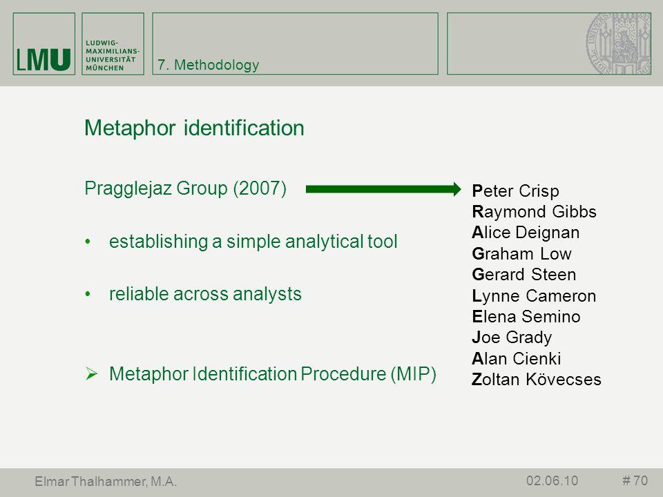 7. Methodology Metaphor identification Pragglejaz Group (2007) establishing a simple analytical tool reliable across analysts Metaphor Identification
