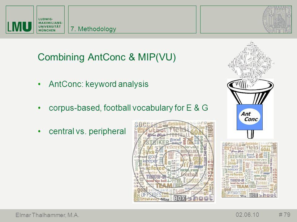 7. Methodology Combining AntConc & MIP(VU) AntConc: keyword analysis corpus-based, football vocabulary for E & G central vs. peripheral # 7902.06.10 E