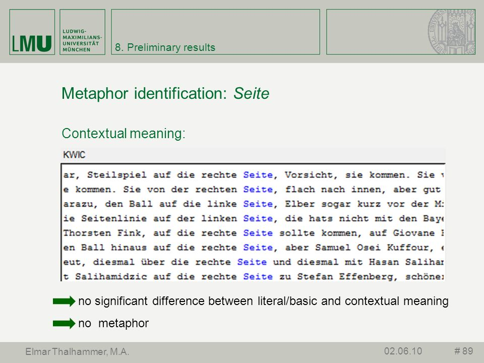 8. Preliminary results Metaphor identification: Seite Contextual meaning: # 8902.06.10 Elmar Thalhammer, M.A. no significant difference between litera