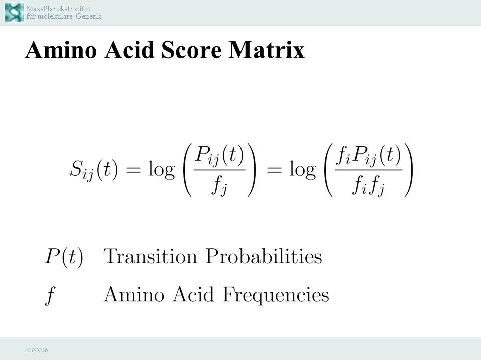 Max-Planck-Institut für molekulare Genetik EBSV06 Amino Acid Score Matrix