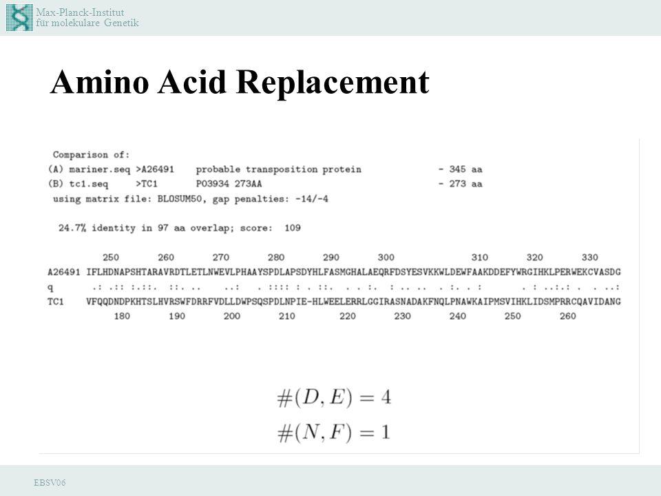 Max-Planck-Institut für molekulare Genetik EBSV06 Amino Acid Replacement