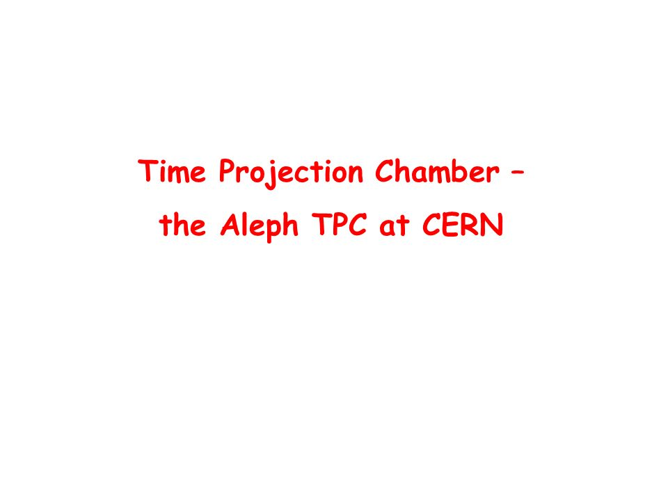 Time Projection Chamber – the Aleph TPC at CERN
